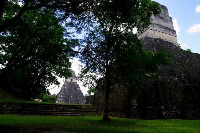 Tikal - 2 Pyramids standing face to face - Temple I and II - Guatemala