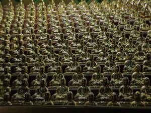 Thousand Buddha statues - Prayer hall in a cave - Vairocana - Yakcheonsa Buddhist Temple - Jeju-Do Island - South Korea