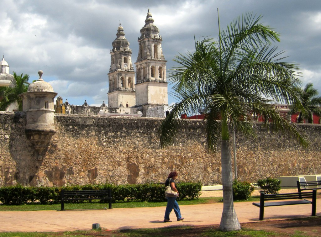 Wall and cathedral of Campeche