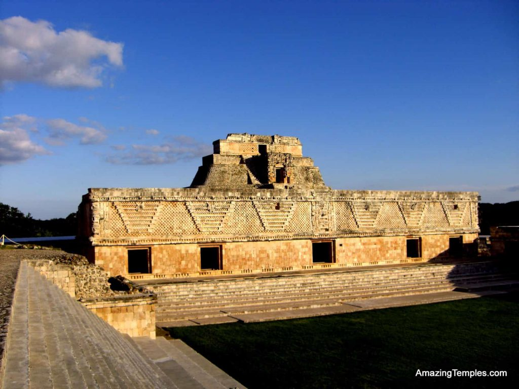 Maya - Nunnery Quadrangle - Pyramid of the Magicien is behind - Uxmal