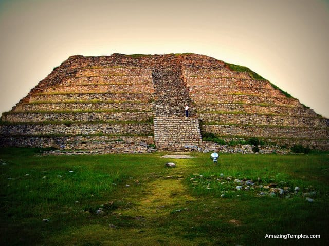 Izamal - Standing on the base level of Kinich Kak Moo - in front the much younger 10 store pyramid that was build on top.