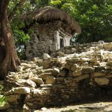 Small temple building at Xaman-Ha in Playa del Carmen
