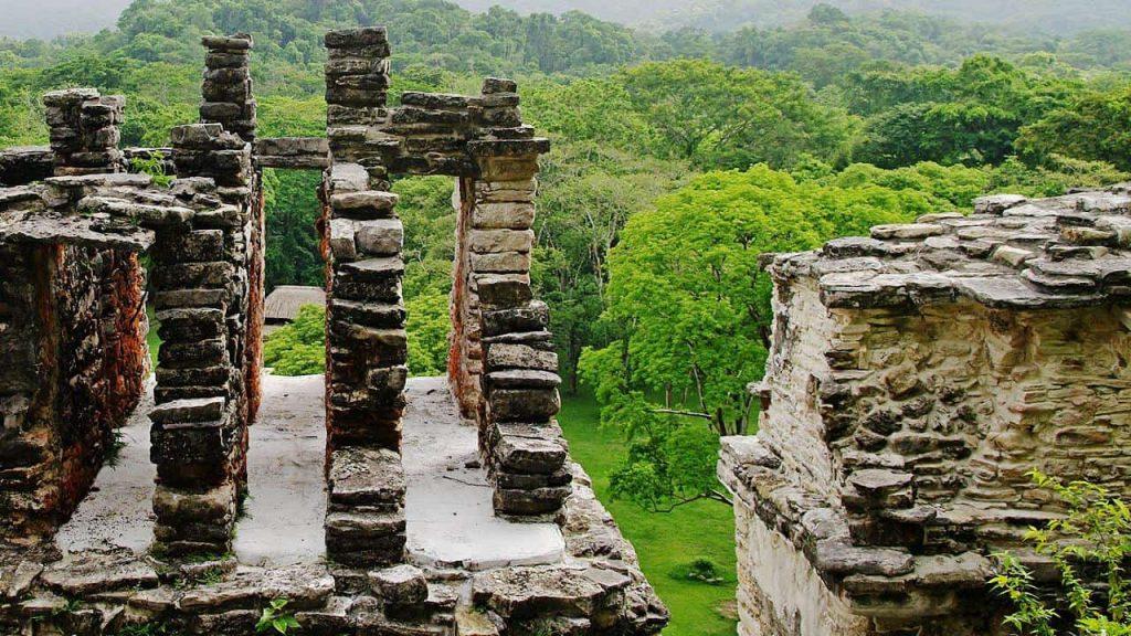 Bonampak - Blick über die Anlage und den angrenzenden Dschungel