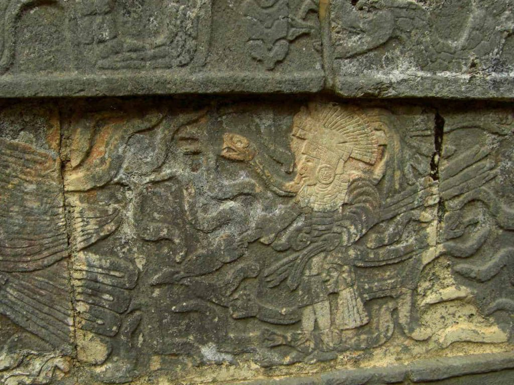 Engraved Warriors and Eagles at the Tzompantli in Chichén Itzá