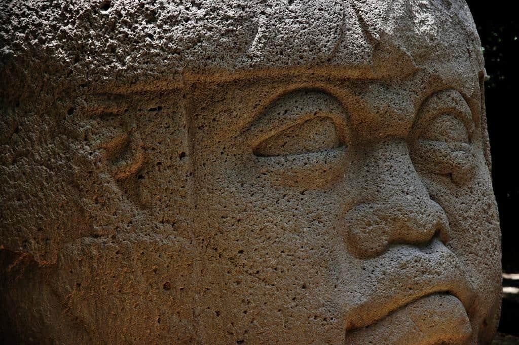 Steinkopf der Olmeken im La Venta Parc Museum in Villahermosa - 2