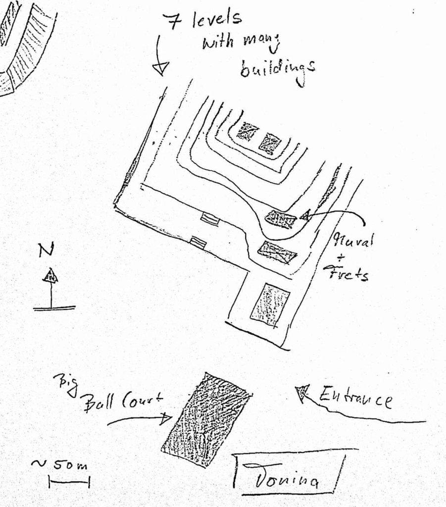 Übersichtskarte Tonina Pyramide