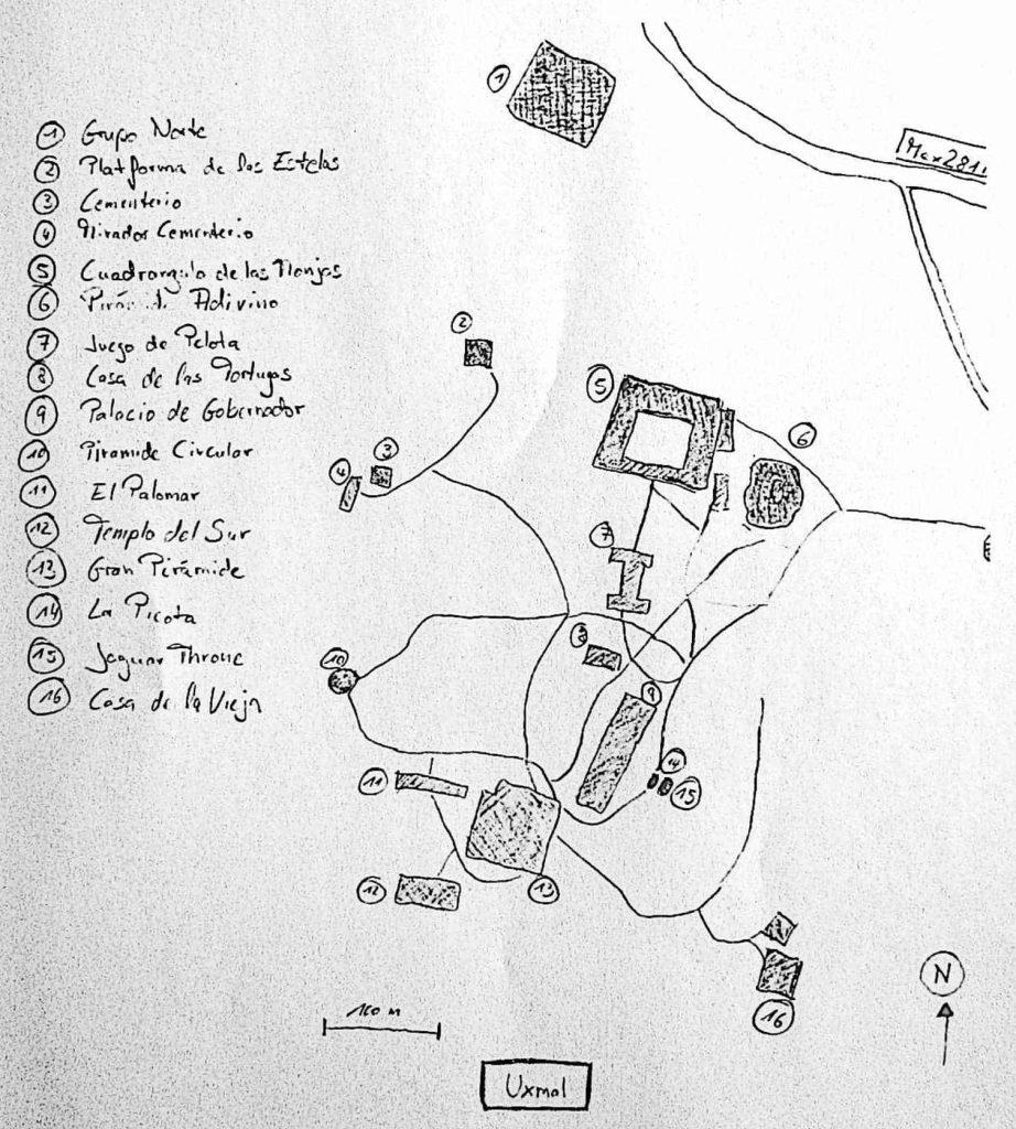 Karte Uxmal