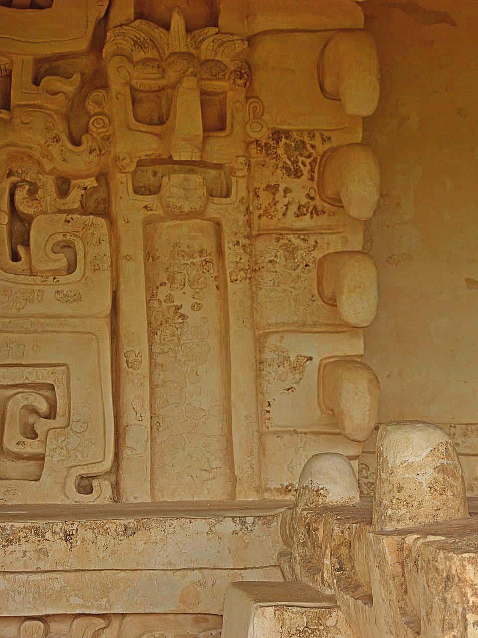Stuckfries an der großen Akropolis in Ek Balam
