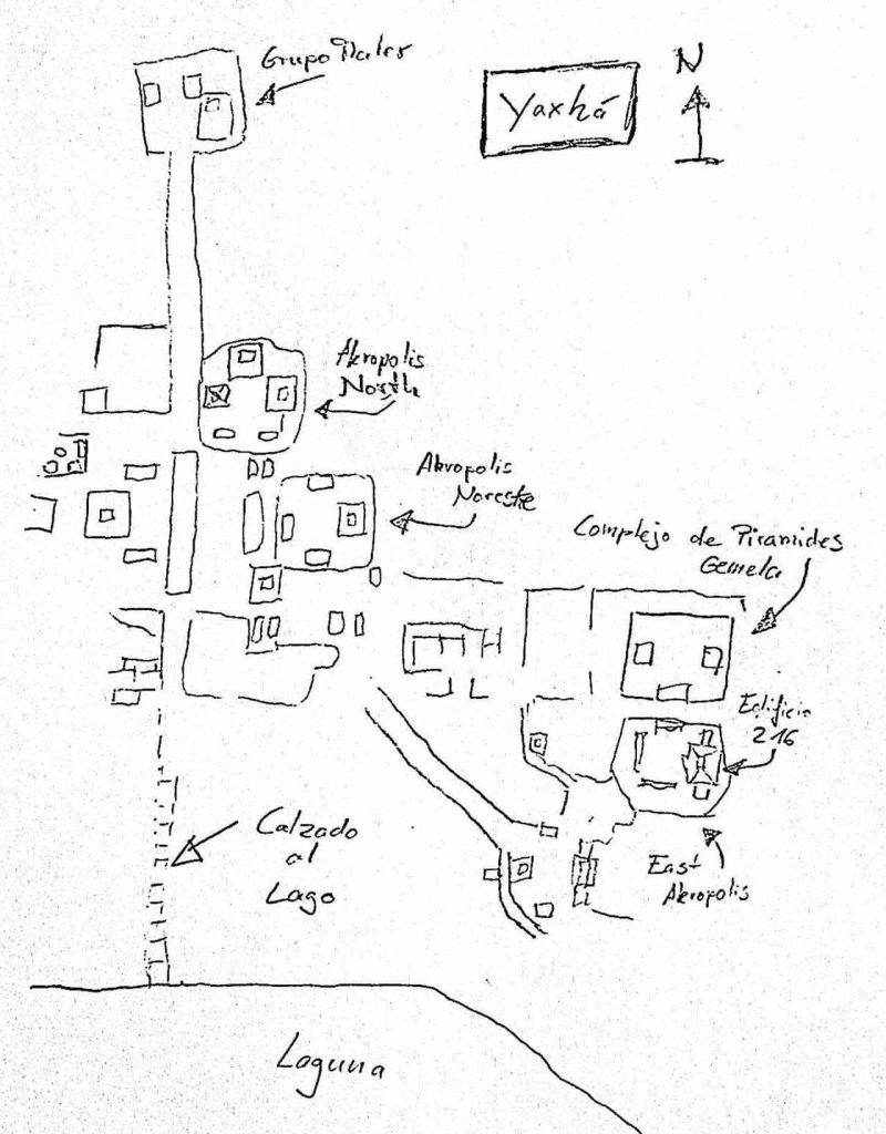 Yaxhá: Map of Maya site in Guatemala