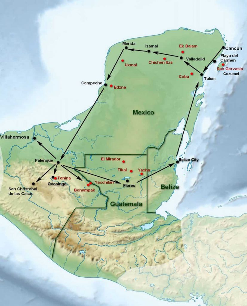 Map of Yucatan with the most important Maya sites