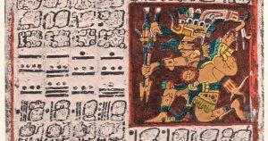 Ausschnitt aus dem Dresden Codex - Mayakalender - Die Ruinenstädte der Maya